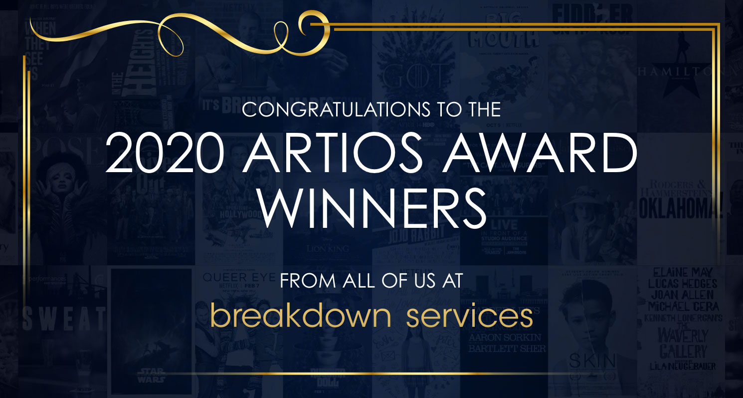 Breakdown Services salutes this year's Artios Award winners. Thank you for letting us help cast your productions.
