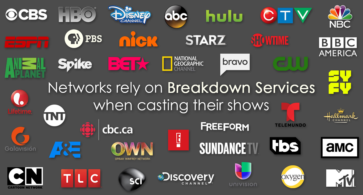 Top Networks rely on Breakdown Services when casting their shows.